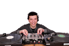 Dj with turntables posing Royalty Free Stock Photos