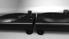 DJ Turntables - Record Players. 3D render of 2 dope black chrome DJ turntables in hot studio setting. Camera pans past to rest stock footage