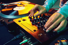 Dj using equipment Royalty Free Stock Photo