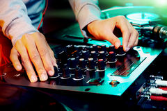 Dj using equipment Stock Photo