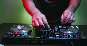 DJ Using His Mixer Table stock video footage