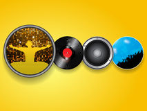 DJ vinyl speaker and crowd  background Royalty Free Stock Images