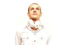 Dj in white. Looking up, isolated on white Stock Photos