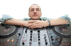 Dj on white Stock Photos