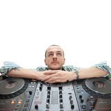 Dj on white. Dj with his expensive equipment Stock Image