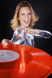 Dj woman with colorful vinyl record Royalty Free Stock Photography