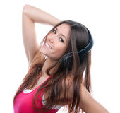 DJ woman listening music sound headphones Stock Image
