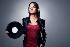 DJ woman Royalty Free Stock Photography