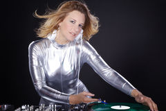 Dj woman with record player Royalty Free Stock Images