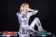 Dj woman with record player Stock Photography
