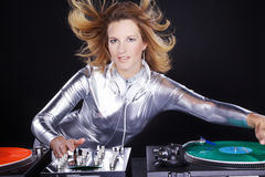 Dj woman with record player Stock Photo