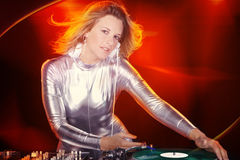 Dj woman with record player Stock Images