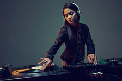 DJ woman on a set Royalty Free Stock Images
