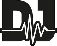 DJ word with soundwave Stock Images