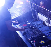 Dj at work. In a disco Stock Photo