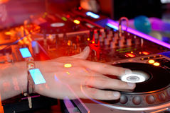 DJ at work. Disco party Royalty Free Stock Photo