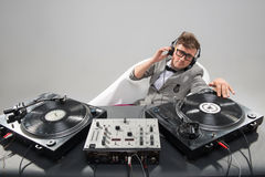 Dj at work in bath isolated on white background Royalty Free Stock Image