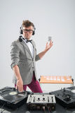 Dj at work isolated on white background Royalty Free Stock Images