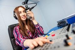 Dj working on the radio Royalty Free Stock Photos