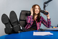 Dj working on the radio Stock Photography