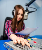 Dj working on the radio Royalty Free Stock Photography