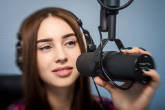 Dj working on the radio Royalty Free Stock Images