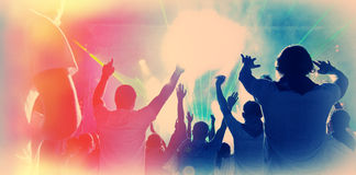Dj. Young people relax and have fun in a disco night stock image
