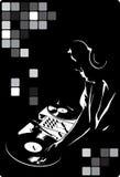 DJ in zwarte vector illustratie