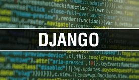DJANGO with Abstract Technology Binary code Background.Digital binary data and Secure Data Concept. Software / Web Developer