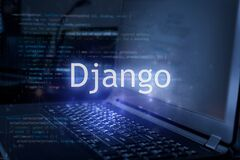Django inscription against laptop and code background. Learn django programming language  computer courses  training