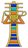 Djed Pillar With Crook And Flail. Colored hieroglyph, ancient Egyptian mythology symbol, meaning stability. Associated with Osiris, god of afterlife Royalty Free Stock Image