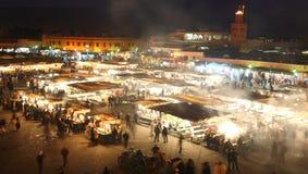 djema el fna karmowy Marrakesh Morocco noc kram Zdjęcia Stock
