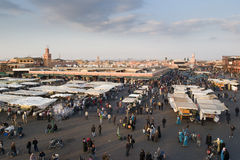 Djemaa El-Fna. Foodmarket at the Djemaa El-Fna square in the medina quarter (old city), Marrakesh, Morocco stock photo
