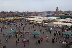 Djemaa el Fna market in early evening Royalty Free Stock Photography