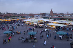 Djemaa el Fna market in early evening Royalty Free Stock Images