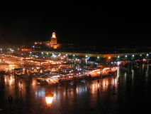 Djemaa el Fna, Marrakech. A night time shot of Marrakech's famous Djemaa el Fna stock photo