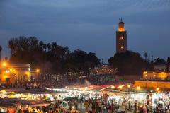 Djemaa el Fna mosque evening Stock Photography
