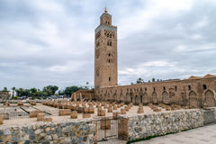 Djemaa EL Fna square and Koutoubia mosque in Marrakech Morocco Stock Images