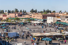Djemaa el Fna square in Marrakech. View over Djemaa el Fna, famous square in Marrakech, Morocco Stock Images