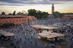 Djemaa el Fna square. Marrakesh. Morocco. Djema el Fna square at sunset. Marrakesh. Morocco royalty free stock images