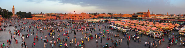 Djemaa El-Fna square panorama Royalty Free Stock Photo