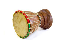 Djembe, african percussion. Djembe. African percussion. Handmade wooden drum with goat Stock Photos
