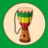 Djembe africano del tambor de la historieta del vector Foto de archivo