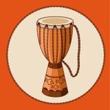 Djembe africano del tambor del vector Imagen de archivo libre de regalías