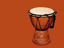 Djembe drum. A view of an African Djembe drum, similar to a bongo drum, isolated stock images