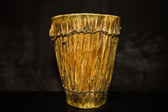 Djembe drum on black background Stock Photography