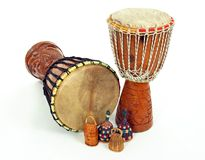 Djembe drums and caxixi shakers Stock Images