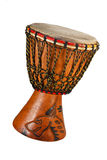 Djembe. Ethnic drum made of wood and goat skin Dymb (isolated object royalty free stock image