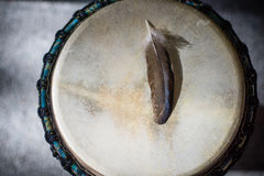Djembe feather Royalty Free Stock Photo
