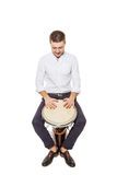 Djembe and the guy Stock Image